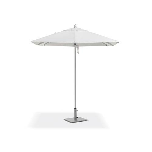 6.5 Ft. Square Sunbrella Market Natural Umbrella with Brushed Aluminum Frame