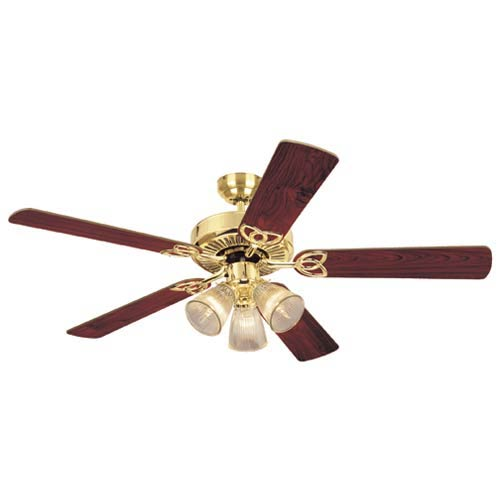 Vintage 52-Inch Polished Brass Ceiling Fan