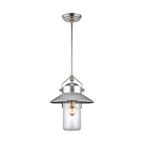 Porter Painted Brushed Steel 11-Inch One-Light Outdoor Pendant