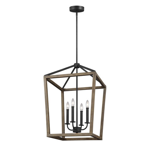 Barnfield Iron and Oak Wood 18-Inch Four-Light Lantern Pendant