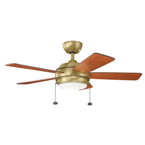 Mill & Mason Gladstone Natural Brass 42-Inch LED Ceiling Fan with Light Kit