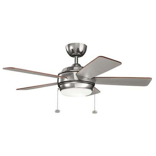 Mill & Mason Gladstone Polished Nickel 42-Inch LED Ceiling Fan with Light Kit