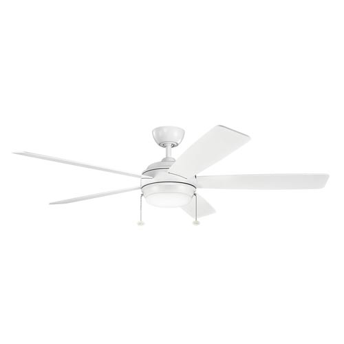 Mill & Mason Gladstone Matte White 60-Inch LED Ceiling Fan with Light Kit