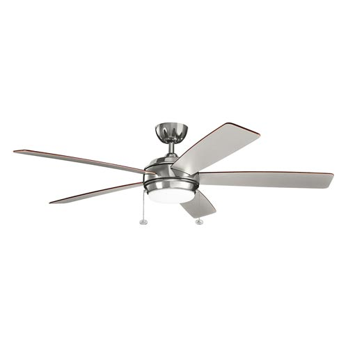 Gladstone Polished Nickel 60-Inch LED Ceiling Fan with Light Kit