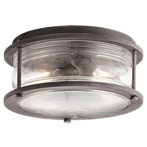 Hammersmith Weathered Zinc Two-Light Outdoor Flush Mount