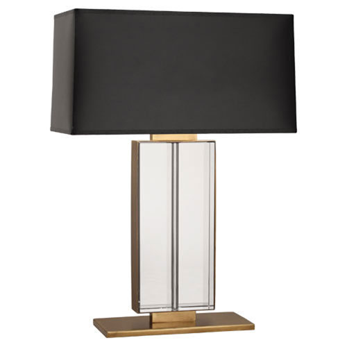 Mill & Mason Tufts Aged Brass Two-Light Table Lamp with Black Shade
