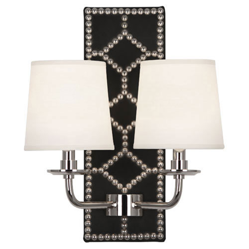 Mill & Mason Argyle Lightfoot Polished Nickel and Caruso Black Two-Light Sconce