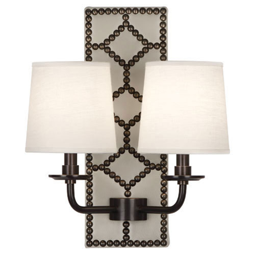 Mill & Mason Argyle Lightfoot Deep Patina Bronze and Caruso Marble Two-Light Sconce