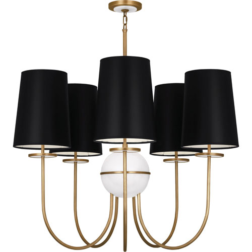 Mill & Mason Fortune Aged Brass Five-Light Chandelier with Black Shades and Alabaster Glass
