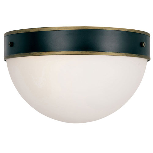 Gordon Matte Black and Textured Gold Two-Light Outdoor Ceiling Mount
