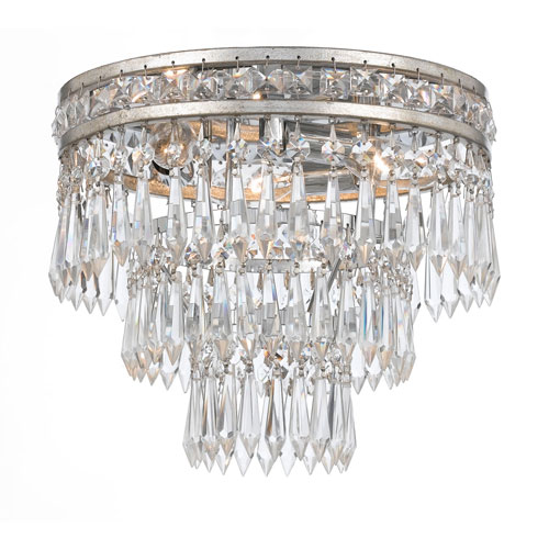 Inverness Olde Silver Three Light Clear Crystal Flush Mount