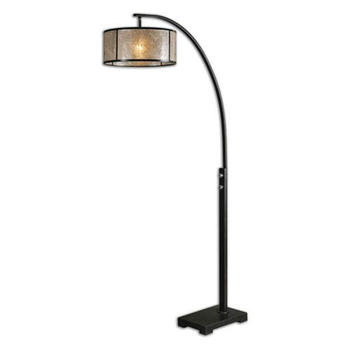 Mill Mason Bradshaw Oil Rubbed Bronze Curved Metal Floor Lamp With Drum Shade