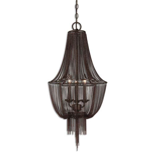 Glenmont Oil Rubbed Bronze Draped Chain Three-Light Chandelier