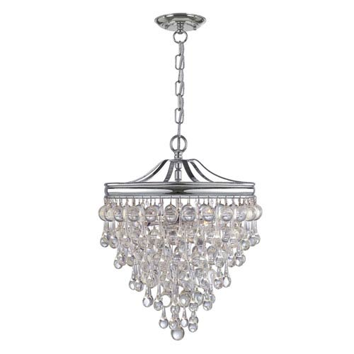 Hopewell Polished Chrome Three-Light Chandelier with Clear Crystal