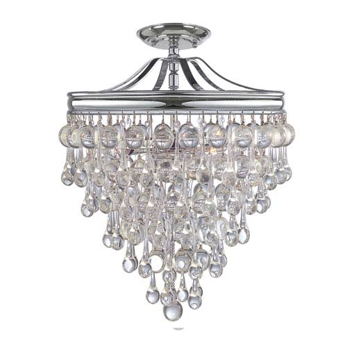 Hopewell Polished Chrome Three-Light Semi-Flush Mount with Clear Crystal