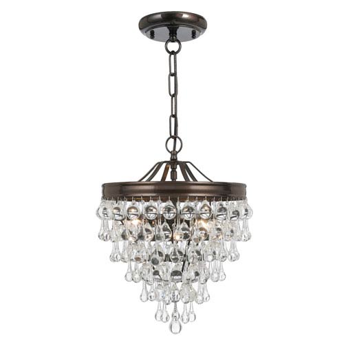 Mill & Mason Hopewell Bronze Three-Light Chandelier with Clear Crystal