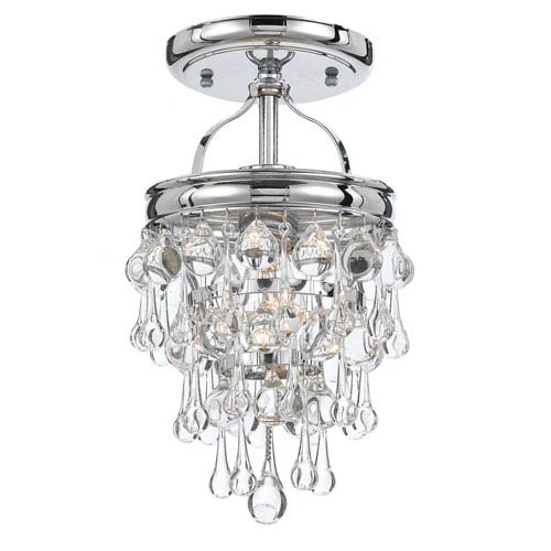 Mill & Mason Hopewell Polished Chrome One-Light Semi-Flush Mount with Clear Crystal