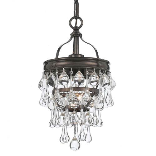 Hopewell Bronze One-Light Mini-Pendant with Clear Crystal