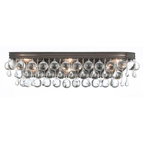 Hopewell Bronze Six-Light Vanity with Clear Crystal