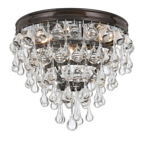 Hopewell Bronze Three-Light Flush Mount with Clear Crystal