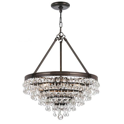 Hopewell Bronze 20-Inch Six-Light Chandelier with Clear Crystal