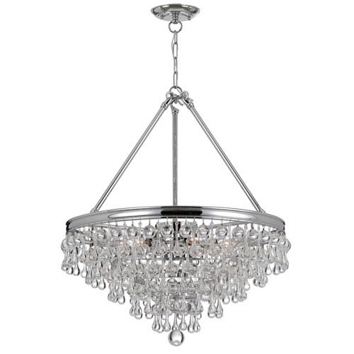Hopewell Polished Chrome Eight-Light Chandelier with Clear Crystal