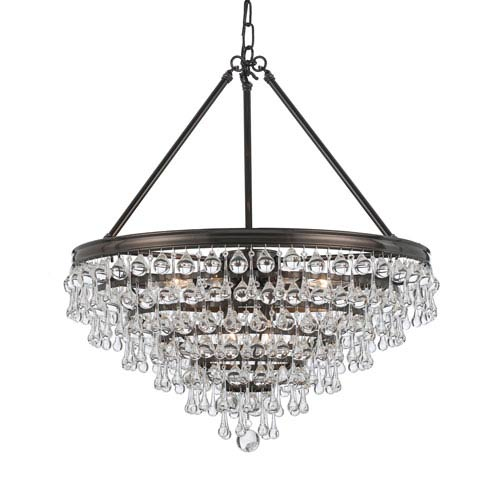 Mill & Mason Hopewell Bronze Eight-Light Chandelier with Clear Crystal