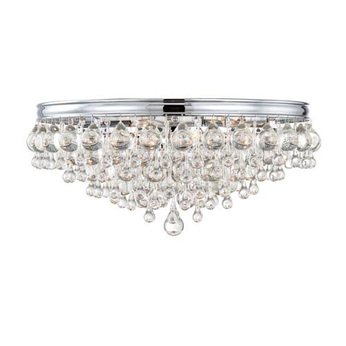 Mill & Mason Hopewell Polished Chrome Six-Light Flush Mount with Clear Crystal