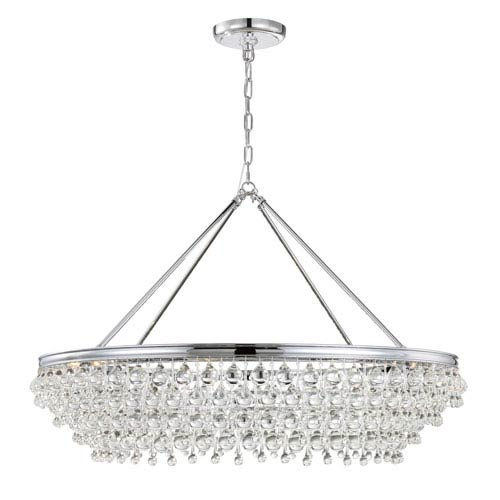 Hopewell Polished Chrome 40-Inch Eight-Light Chandelier with Clear Crystal