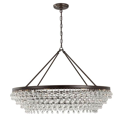 Mill & Mason Hopewell Bronze 40-Inch Eight-Light Chandelier with Clear Crystal
