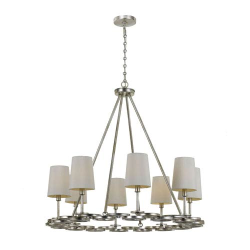 Mill & Mason Mulberry Antique Silver Eight-Light Chandelier