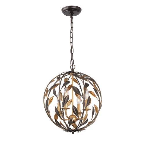 Rosemary Bronze and Gold Four-Light Globe Pendant