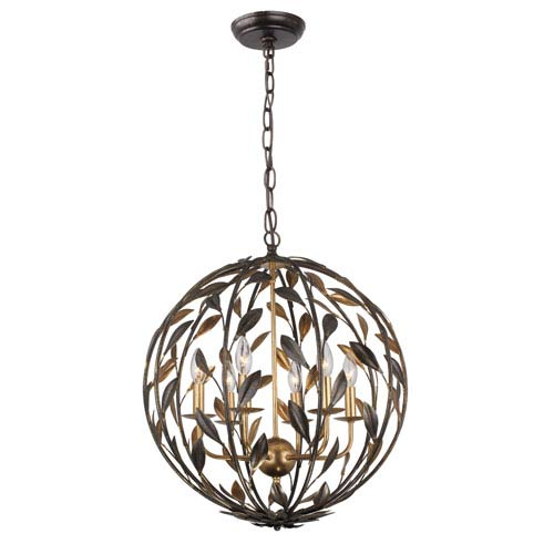 Rosemary Bronze and Gold Six-Light Globe Pendant
