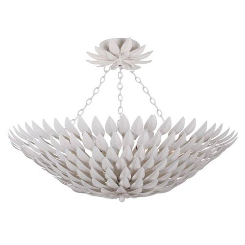 Rosemary White Six-Light Bowl Semi-Flush Mount