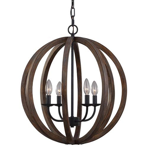 Hyattstown Weathered Wood and Iron Four-Light Chandelier