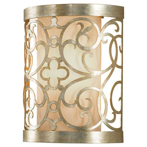 Lattice Silver Leaf Patina One-Light Wall Sconce