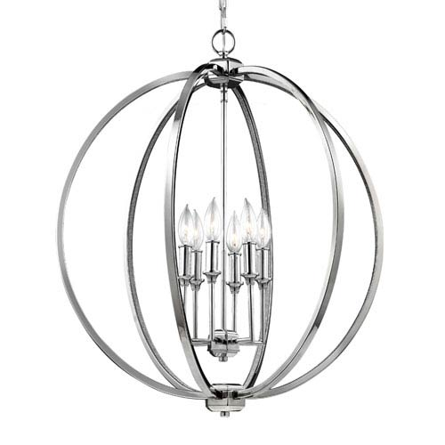 Mill & Mason Monticello Polished Nickel Six-Light Chandelier