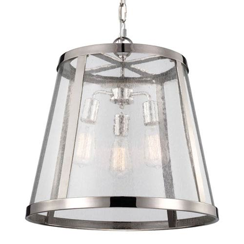 Layton Polished Nickel Three-Light Lantern Pendant with Clear Glass