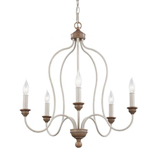 Cecilia White Washed Five-Light Chandelier