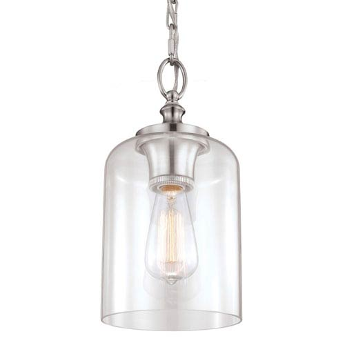 Mill & Mason Vale Brushed Steel 13-Inch One-Light Mini-Pendant with Clear Glass