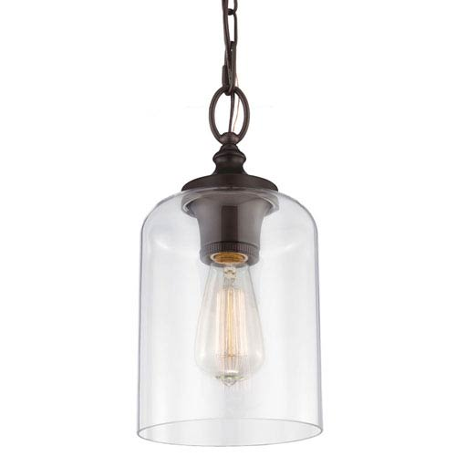 Mill & Mason Vale Rubbed Bronze 13-Inch One-Light Mini-Pendant with Clear Glass
