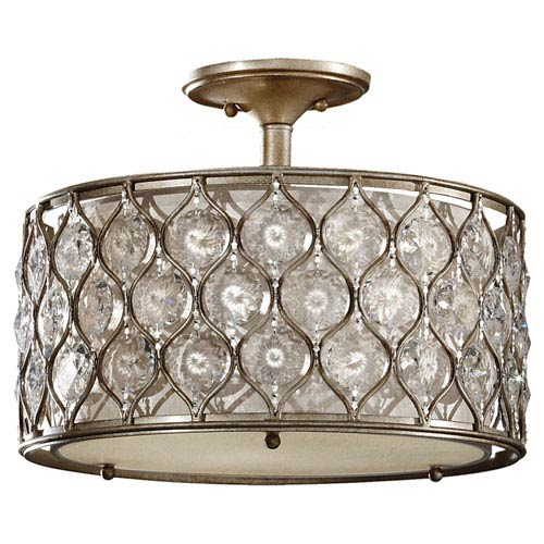 Crystalis Burnished Silver Three-Light Drum Semi-Flush Mount with Crystal