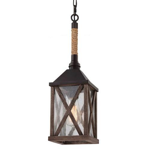 Ednor Oak and Rubbed Bronze One-Light Mini-Pendant