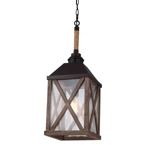 Ednor Oak and Rubbed Bronze One-Light Lantern Mini-Pendant