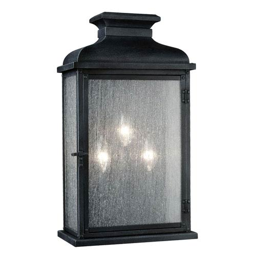 Mill & Mason Wright Dark Weathered Zinc 18-Inch Three-Light Outdoor Wall Sconce