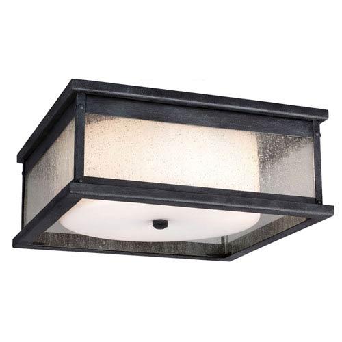 Mill & Mason Wright Dark Weathered Zinc Three-Light Outdoor Flushmount