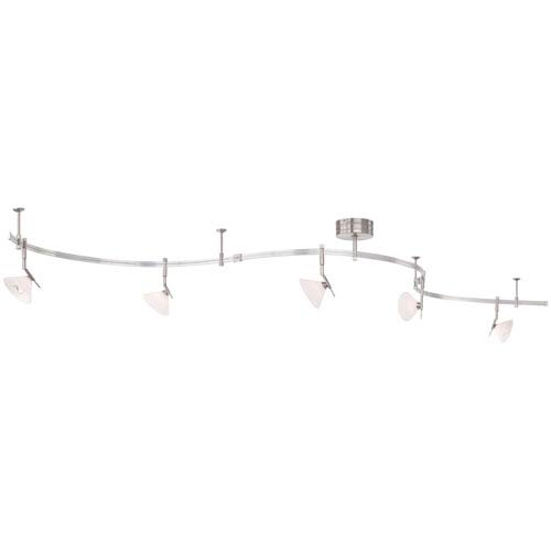 Mill & Mason Nile Brushed Nickel Five-Light Monorail Track Light with Etched Glass Shades
