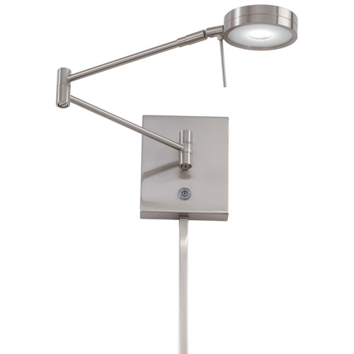 Apothecary Brushed Nickel LED Swing Arm Wall Lamp