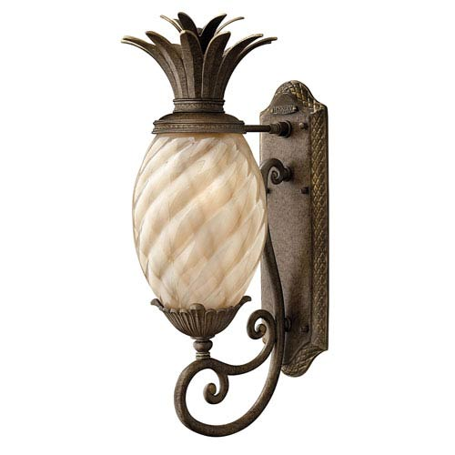 Fleur Pearl Bronze Eight-Inch One-Light Outdoor Wall Mount with Amber Glass