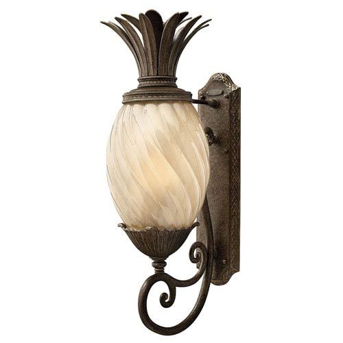 Fleur Pearl Bronze 10-Inch One-Light Outdoor Wall Mount with Amber Glass
